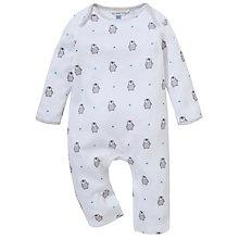Buy John Lewis Baby Repeat Penguin Print Romper, White Online at johnlewis.com