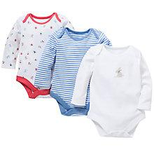 Buy John Lewis Baby Rabbit and Toadstool Bodysuit, Pack of 3, White/Multi Online at johnlewis.com