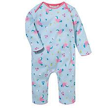 Buy John Lewis Baby Repeat Bird Print Romper, Blue/Multi Online at johnlewis.com