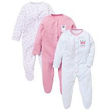 Buy John Lewis Baby Daddy's Princess Sleepsuit, Pack of 3, Multi Online at johnlewis.com