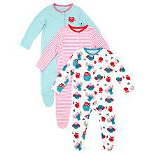 Buy John Lewis Baby Owls Sleepsuits, Pack of 3, Mutli Online at johnlewis.com