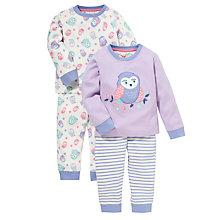 Buy John Lewis Owl Pyjamas, Pack of 2, Purple Online at johnlewis.com