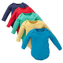 Buy John Lewis Baby Plain Long Sleeve Bright Bodysuits, Pack of 5 Online at johnlewis.com