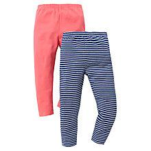 Buy John Lewis Stripe & Plain Leggings, Pack of 2, Pink/Blue Online at johnlewis.com