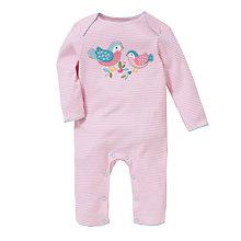 Buy John Lewis Baby Stripe Bird Applique Romper, Pink Online at johnlewis.com