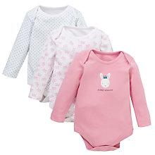 Buy John Lewis Baby 'Mummy's Princess' Bodysuits, Pack of 3, Pink/White Online at johnlewis.com