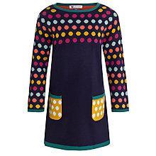 Buy John Lewis Girl Multispot Knit Dress, Navy Online at johnlewis.com