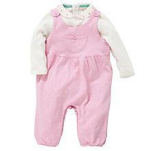 Buy John Lewis Baby Layette Marl Dungaree Set, Pink/White Online at johnlewis.com