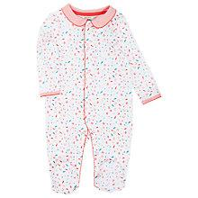 Buy John Lewis Baby Layette Feather Sleepsuit, White/Pink Online at johnlewis.com