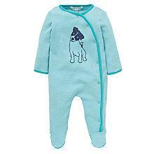 Buy John Lewis Baby Stripe Puppy Print Sleepsuit, Green Online at johnlewis.com