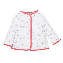 Buy John Lewis Layette Baby Rabbit Quilt Jacket, White/Pink Online at johnlewis.com
