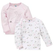 Buy John Lewis Baby Layette Rabbit Top, Pack of 2, Pink/White Online at johnlewis.com