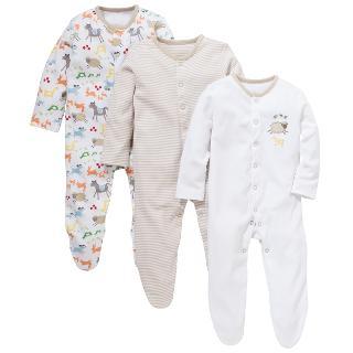 Buy John Lewis Farmyard Sleepsuit, Pack of 3, White/Multi Online at johnlewis.com