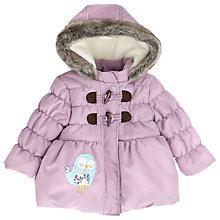 Buy John Lewis Girls' Owl Fur Hood Coat, Lilac Online at johnlewis.com