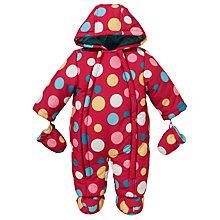 Buy John Lewis Baby Spot Print Snowsuit, Pink/Multi Online at johnlewis.com