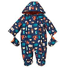 Buy John Lewis Baby Woodland Print Snowsuit, Navy/Multi Online at johnlewis.com