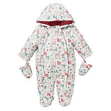 Buy John Lewis Baby Woodland Print Snowsuit, White/Multi Online at johnlewis.com