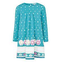 Buy John Lewis Girl Floral Border Print Jersey Dress, Blue Online at johnlewis.com