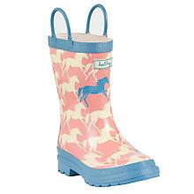 Buy Hatley Horse Print Pull-On Wellington Boots, Pink/Blue Online at johnlewis.com