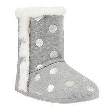 Buy John Lewis Metallic Dot Jersey Slippers, Grey Online at johnlewis.com