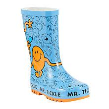 Buy John Lewis Mr Tickle Wellington Boots, Blue/Orange Online at johnlewis.com