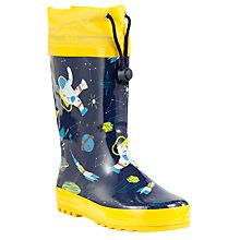 Buy John Lewis Spaceman Print Wellington Boots, Navy/Yellow Online at johnlewis.com