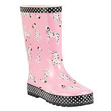 Buy John Lewis Dalmatian Print Wellington Boots, Pink Online at johnlewis.com