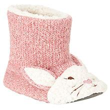 Buy John Lewis Children's Knitted Bunny Slippers, Pink Online at johnlewis.com