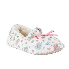 Buy John Lewis Childrens' Floral Applique Ballet Slippers, Cream/Multi Online at johnlewis.com