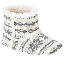 Buy John Lewis Children's Knitted Fairisle Slippers, White/Grey Online at johnlewis.com