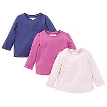 Buy John Lewis Plain Long Sleeve T-Shirts, Pack of 3, Multi Online at johnlewis.com