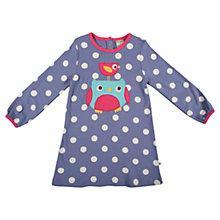 Buy Frugi Girls' Spot Owl Agnes Dress, Blue Online at johnlewis.com