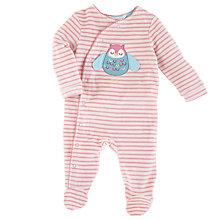 Buy John Lewis Baby Owl Stripe Velour Sleepsuit, Pink/Cream Online at johnlewis.com