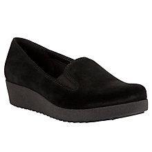 Buy John Lewis Designed for Comfort Rola Suede Loafer Shoes, Black Online at johnlewis.com