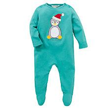 Buy John Lewis My First Christmas Sleepsuit, Green Online at johnlewis.com