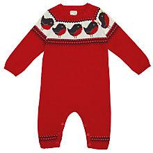 Buy John Lewis Robin Intarsia Knit Romper, Red Online at johnlewis.com