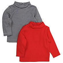 Buy John Lewis Roll Neck Top, Pack of 2, Red/Navy Online at johnlewis.com