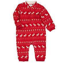 Buy John Lewis Fleece Reindeer Onesie, Red Online at johnlewis.com