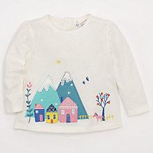 Buy John Lewis Mountain Scene Long Sleeve Top, Cream/Multi Online at johnlewis.com