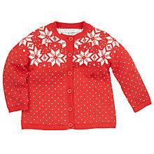 Buy John Lewis Knitted Fair Isle Cardigan, Orange Online at johnlewis.com