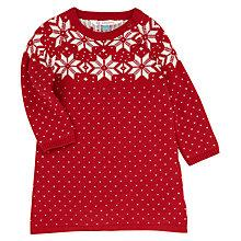 Buy John Lewis Snowflake Knitted Dress, Red/White Online at johnlewis.com