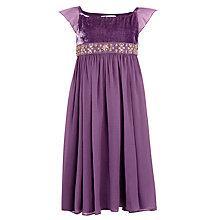 Buy John Lewis Girl Beaded Velvet Party Dress, Purple Online at johnlewis.com