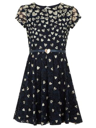Buy Yumi Girl Lace Hearts Dress, Navy Online at johnlewis.com