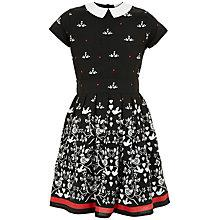 Buy Yumi Girl Birdie Print Dress, Black Online at johnlewis.com