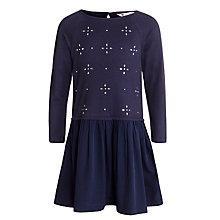 Buy John Lewis Girl Embellished Jersey Dress, Navy Online at johnlewis.com