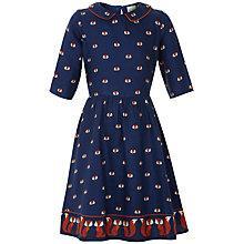 Buy Yumi Girl Repeat Fox Print Collared Dress, Navy Online at johnlewis.com
