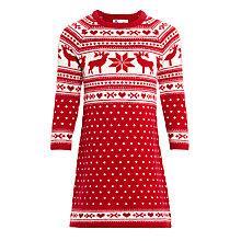 Buy John Lewis Girl Christmas Knitted Fair Isle Dress, Red/White Online at johnlewis.com