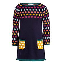 Buy John Lewis Girl Spot Knit Dress, Navy/Multi Online at johnlewis.com