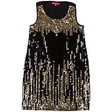 Buy Derhy Kids Girls' Lily Rose Mes Sequin Dress, Black/Gold Online at johnlewis.com