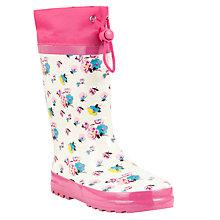 Buy John Lewis Girl Floral Print Wellington Boots, Cream/Pink Online at johnlewis.com
